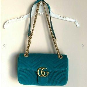 Gucci Marmont Velvet Matelasse Teal Shoulder Bag